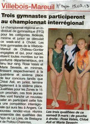 Trois gymnastes au championnat interrégional